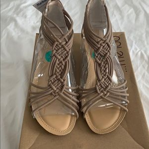 Nude low platform strappy sandal